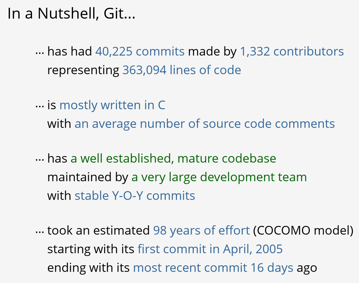 Factoids shown by OpenHub for the git project